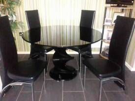 Smoked glass table and 4 chairs