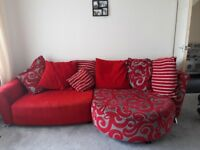 Red sofa and swivel chair. Must go today or tomorrow