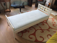 White Ikea children's KRITTER bed with Matress (Ages 3-9).