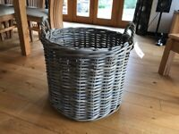 The Basket Company large, round, grey & buff rattan basket
