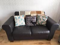 Leather 3 seater + 2 seater + footstool. Local delivery available if required