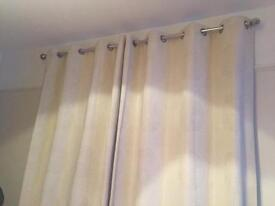 Cream lined eyelet curtains 90in drop