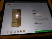 2 Bedroom chest of drawers Ikea Malm Oak veneer, 1 six drawers with glass mirror , 1 four drawer