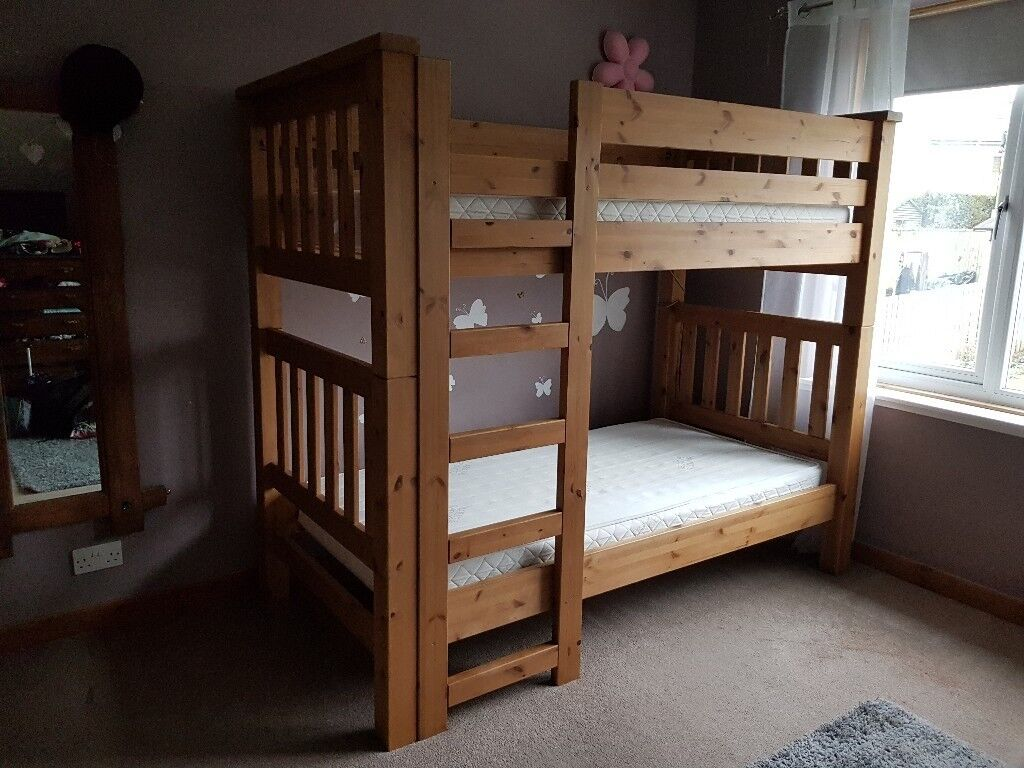 BUNK BEDS CHUNKY SOLID WOOD WITH OAK FINISH