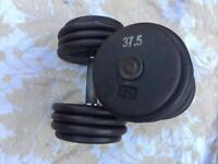 2x37.5kg dumbbells weights