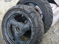 for sale 4 whels with tyres on perfect condition ready to go