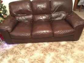 Selling a 3 seater chocolate leather sofa and 2 armchairs originally from Harvey's good condition