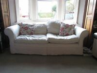 Shabby Chic 3-seater sofa with cream loose covers