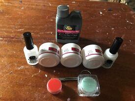 Polymer powder, Pink, white, clear, Acrylic Liquid, glue,