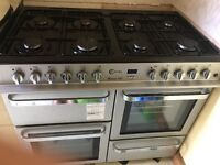 Flavel range cooker dual fuel, silver and black, £350