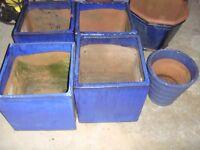 4 No Large Blue Glazed Square Garden Pots plus 2 matching pots