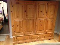 Large pine double wardrobe