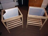 bamboo and glass bedside tables
