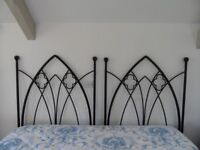 A PAIR OF HEAVY HANDMADE FORGED BED HEADBOARD WROUGHT IRON GOTHIC DESIGN FOR A KINGSIZE OR 2 SINGLES