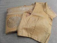NEW Banarasi Gold Silk Sari Saree Sari & ready made adjustable matching blouse