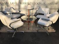 Set of 4 white leather retro swivel arm chairs