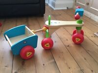 ELC wooden trike and trailer