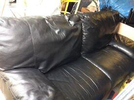 Black Leather 3Seater Sofa