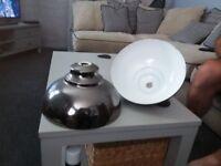 Retro looking industrial style enamal lampshades