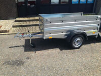 NEW SINGLE AXLE BOX TRAILER CAMPING TRAILER 6,8FT X 3,8FT WITH 2 X SIDES