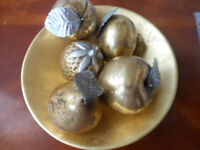 Golden Fruits in Bowl Decorative