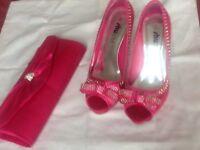 Pink diamanté shoes & bag
