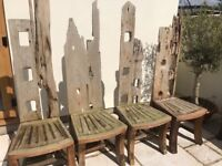Garden Table bespoke with 8 unusual chairs