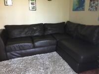 Corner sofa, dark brown faux leather. Great condition.