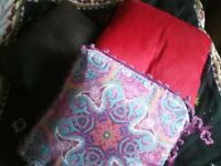 3 square pillows: brown red and purple paisley