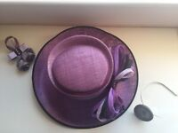 Bespoke Wedding/Formal Occasion Hat, Fascinator and Corsage with black clutch bag. Comes with Box