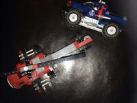 Lego helicopter and truck