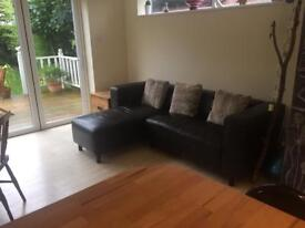 Chocolate brown leather corner sofa and armchair set