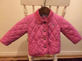 Joules pink quilted jacket with floral lining 9-12m
