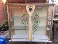 Retro Glass White Display Cabinet