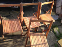 4 X vintage garden folding chairs in real wood