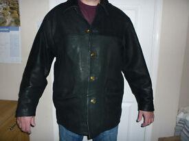 Mens Black Soft Leather Coat/Jacket Size Large