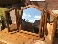 Pine Triple Mirror
