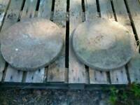 Two garden stepping stone slabs