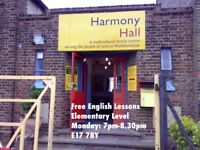 FREE ADULT ENGLISH CLASSES - Monday evenings in Walthamstow, London E17