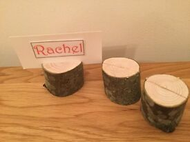 Rustic Wooden Log Holder suitable for place name cards/ table numbers/ Photos/Menu