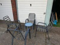 Garden Chairs Grey comfortable and lightweighand strong Frame Set of 4 plus the small fashion table