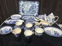 large assortment of Clasic Real Old Willow pottery design made by well know potteries