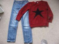 M&S 'Indigo Collection' Mid Wash Jeans & Eyelash Jumper (age 9-10).