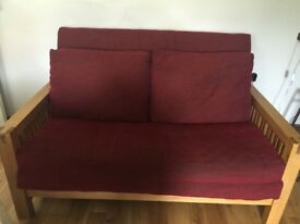 Top of the range solid oak 2 seater Futon, sofa bed by Futon company with mattress and cover