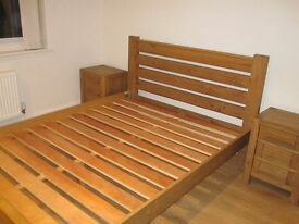 Oak bed frame and matching bedside cabinets