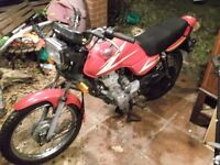 HONDA CG125 KICK/ELECTRIC START 2002 red MILEAGE REALLY 20,000 EXCELLENT CBT LEARNER MODEL