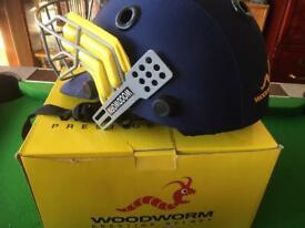 Brand new never worn Woodworm cricket helmet blue junior