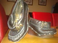 irregular choice size 6 shoe boot black leather & wooden wedge very quirky hardly worn