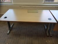 Natural beech-wood single office table with 2 cable management ports
