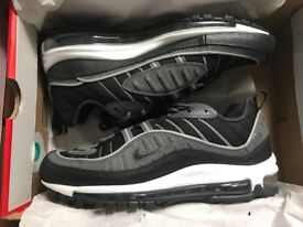Nike Air Max 98 Trainers Black Anthracite Grey White | Size: 8